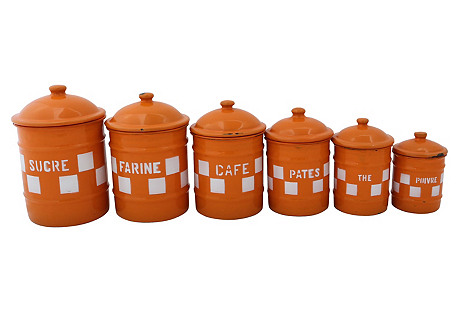 French Enamel Kitchen Canisters, S/6