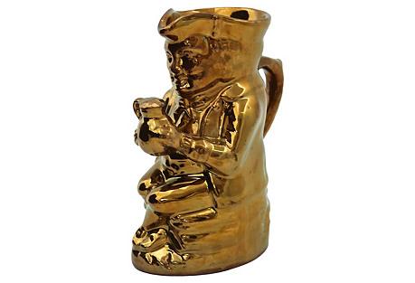 Antique Copper Luster Toby Ale Jug