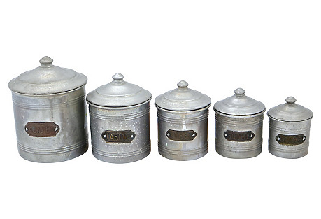 French Aluminum Kitchen Canisters, S/5