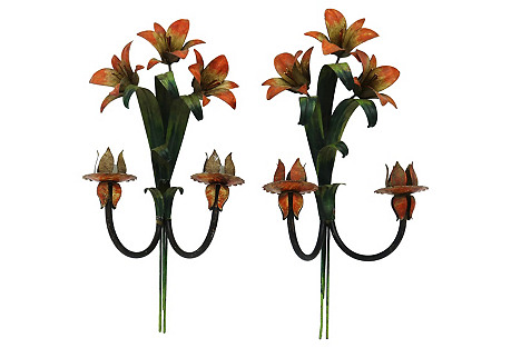 French Tole Floral Wall Sconces, Pair