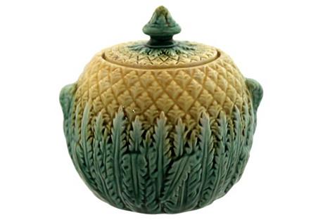 Antique Majolica Pineapple Sugar Bowl