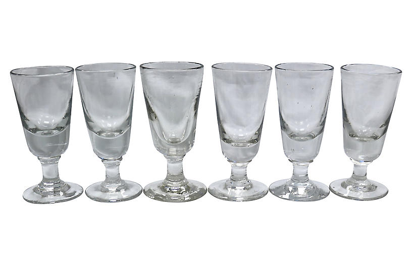 Antique French Absinthe Glasses, S/6
