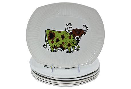 1970s English Ironstone Steak Plates,S/6