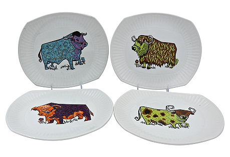 1970s English Ironstone Steak Plates,S/4