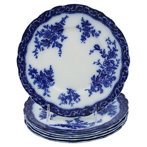 Antique Flow Blue Touraine Plates, S/6