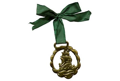 Antique English Brass Ship Ornament