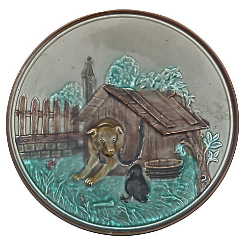 Majolica Dog House Wall Plate