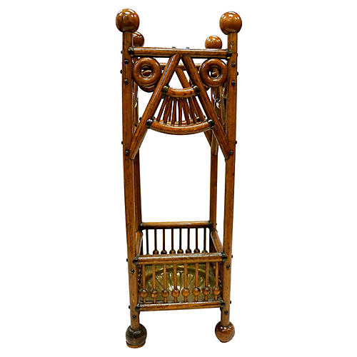 Antique Oak Umbrella Stand