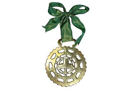 Antique Shamrock Horse Brass Ornament
