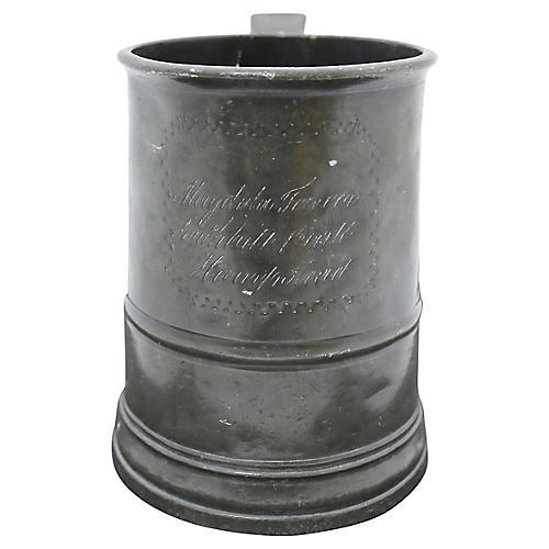 Antique English Pewter Ale Tankard