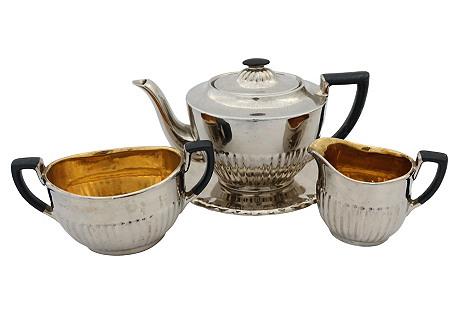 English Silver Luster Tea Set, 4 Pcs