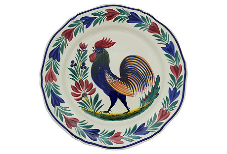 French Quimper Wall Plate w/ Rooster