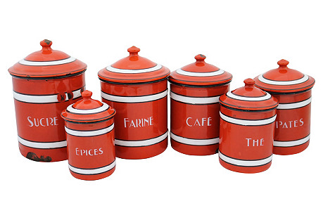 French Enamel Red Kitchen Canisters, S/6
