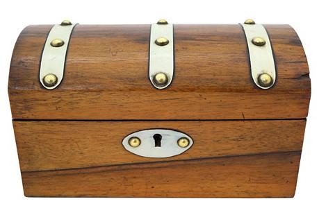 Antique English Wood Tea Caddy