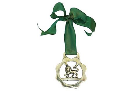 Antique Lion Horse Brass Ornament