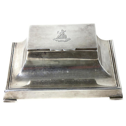 1920s English Sterling Silver Inkwell