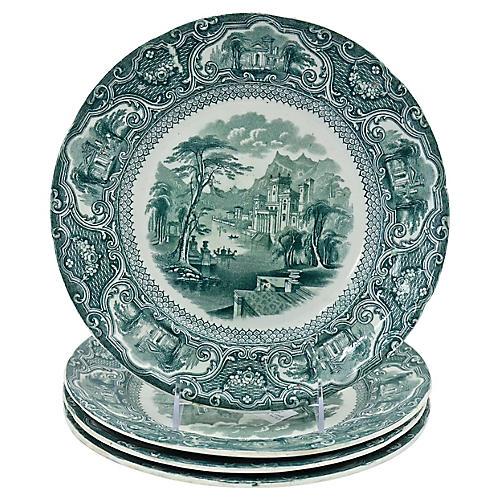1840s Green Transferware Plates, S/4