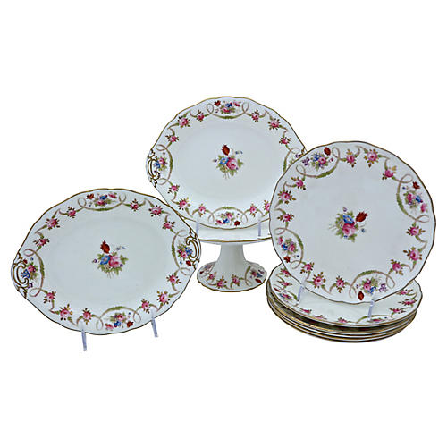 English Porcelain Dessert Set, S/9