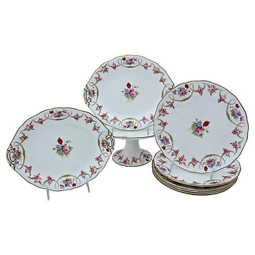 English Porcelain Dessert Set, S/9