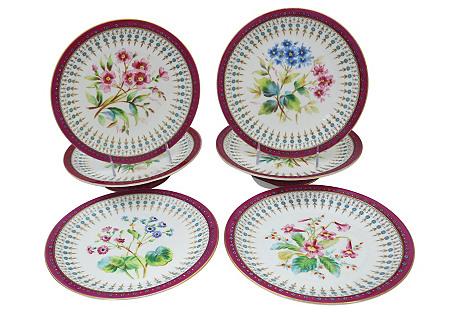 Antique Crown Derby Dessert Set, 6 Pcs