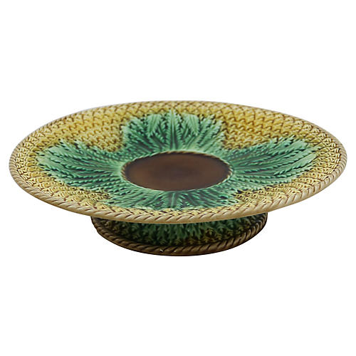 Antique Majolica Pineapple Cake Stand