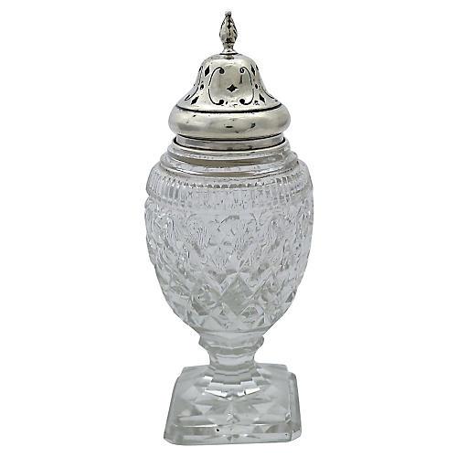 Antique Sterling & Crystal Sugar Shaker