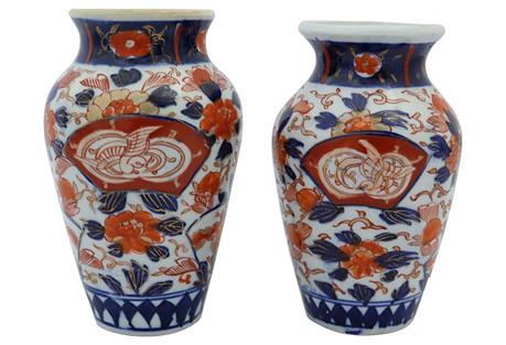 Antique Japanese Imari Vases, S/2