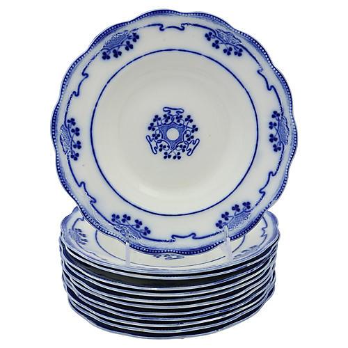 English Flow Blue Shamrock Bowls, S/12