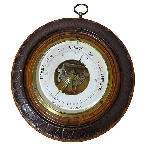 Antique Carved Oak Wall Barometer