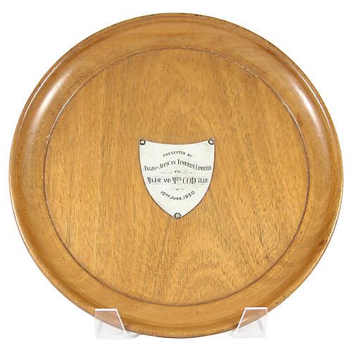 Silver Shield Presentation Wood Plate