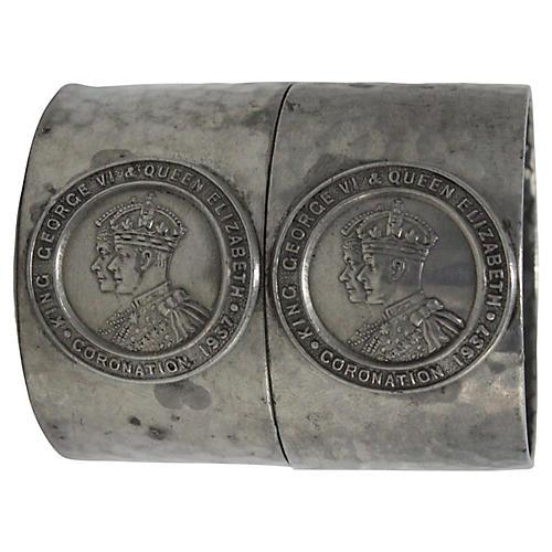 1937 King George VI Napkin Rings, Pair