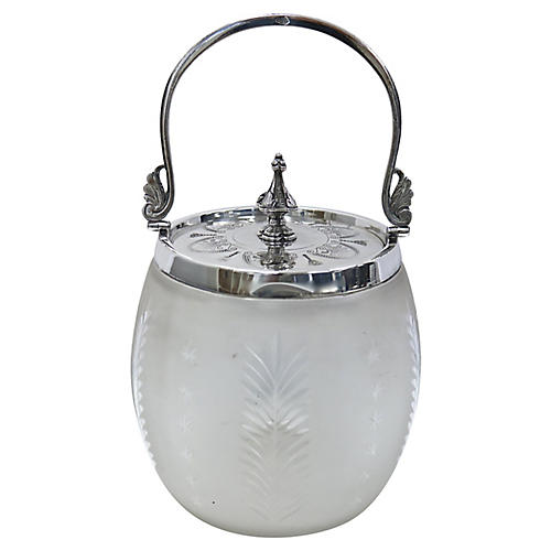 Frosted Glass & Silver-Plate Ice Bucket