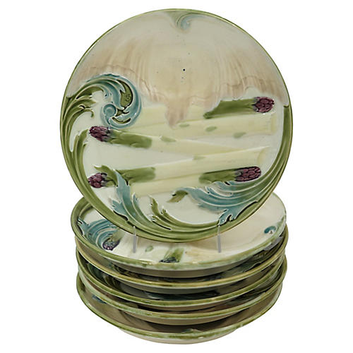 Luneville Majolica Asparagus Plates, S/6