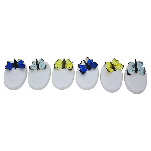 Coalport Butterfly Placemarkers, S/6