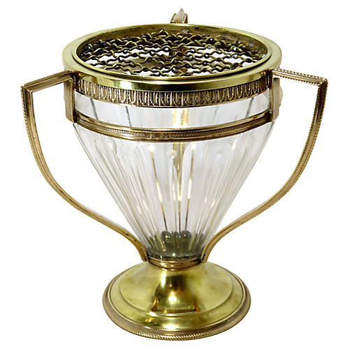 Antique Bronze & Crystal Oversized Vase