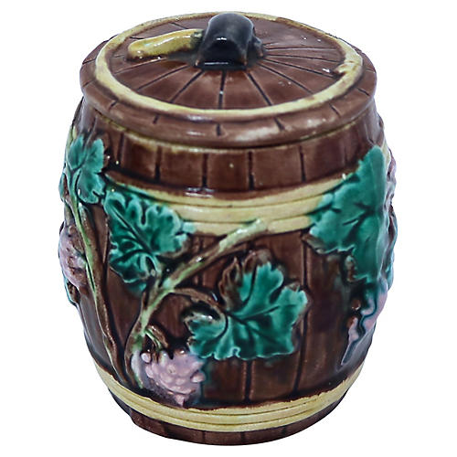 Antique Majolica Pipe Tobacco Jar