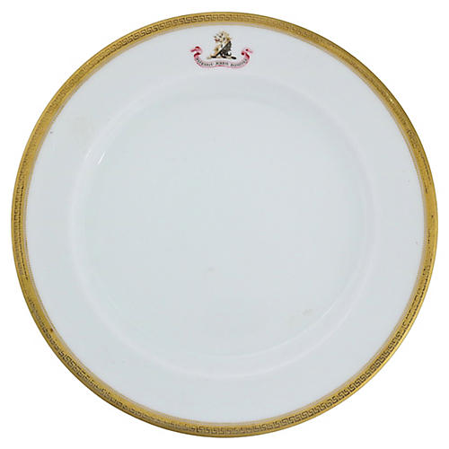 English Family Crest Plate, C. 1830