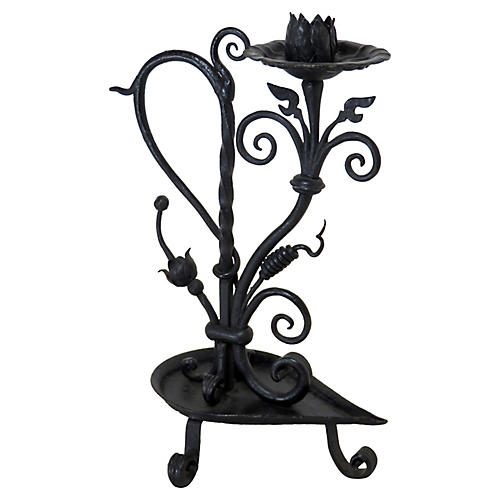 Antique Hand-Wrought Iron Candle Stand