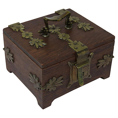 Oak & Bronze Jewelry Box, C. 1890