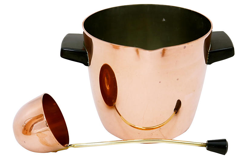 English Copper Ice Bucket & Ladle, 2 Pcs
