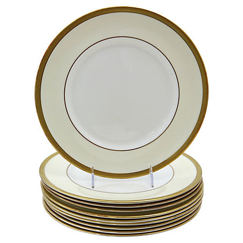 Royal Doulton Gilded Dinner Plates, S/10