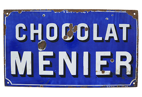 French Menier Chocolat Factory Sign