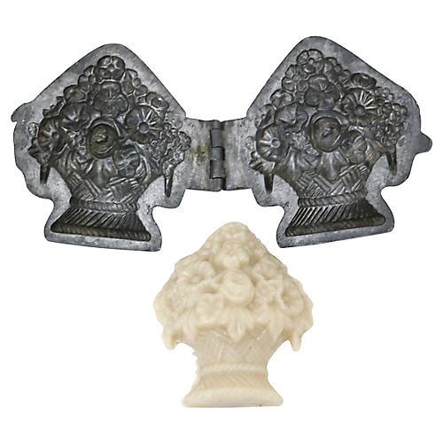 Antique English Floral Ice Cream Mold
