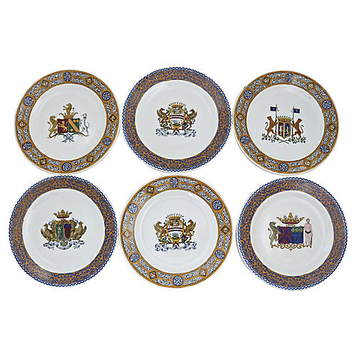 C.1880 Gien Coat Of Arms Plates, S/6