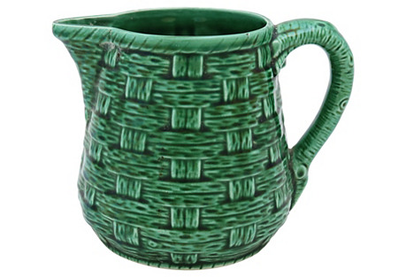 French Majolica Basketweave Jug