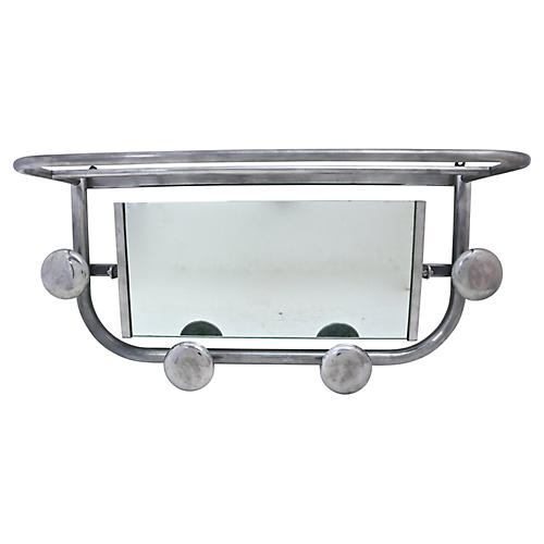 1950s French Mirrored Wall Shelf Rack