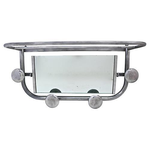 1950s French Mirrored Wall Shelf Rack