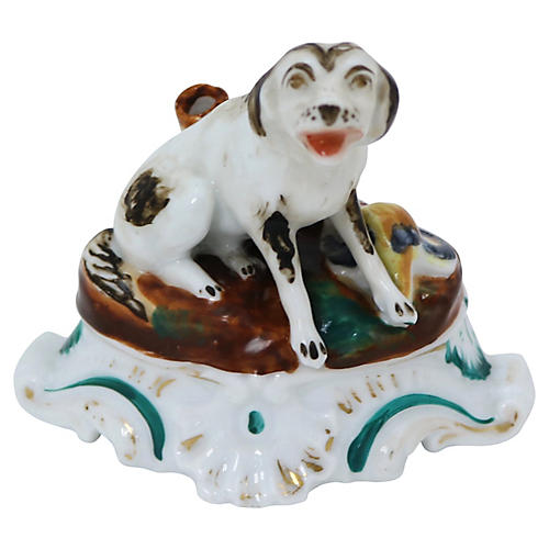 Early 19th-C. Porcelain Dog Inkwell