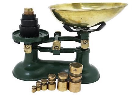 English Iron & Brass Kitchen Scale, 13Pc