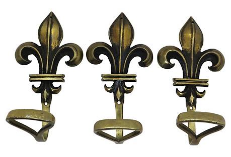 French  Fleur-De-Lis  Coat Hooks, S/3